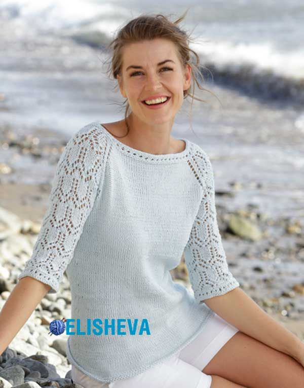 Красивый и нарядный джемпер с регланом и ажурными рукавами ¾ вязаный спицами   Блог elisheva.ru