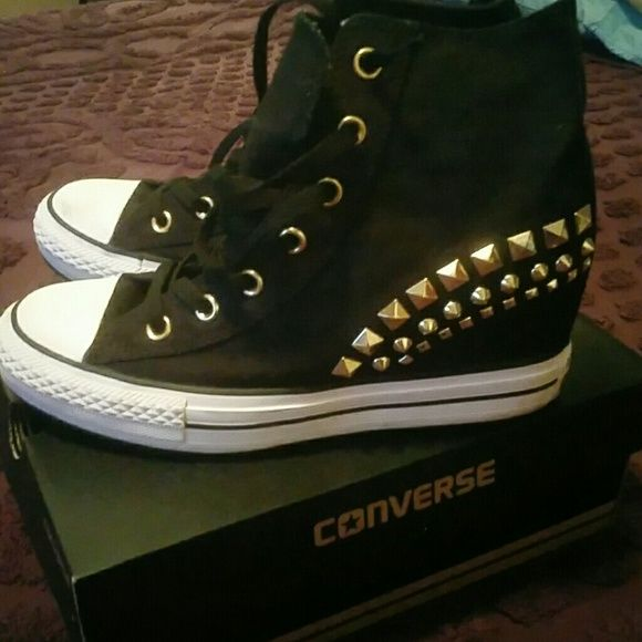 Converse Wedge Sneakers Black with gold studs on the side Brand New Converse Shoes Wedges