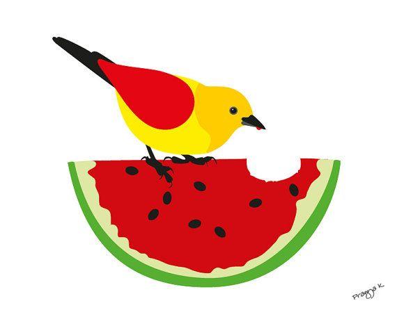 Originele kunst, kunst van de keuken, watermeloen vogel kunst print, fruit keuken poster, fruit poster, abstracte print, moderne keuken print - watermeloen