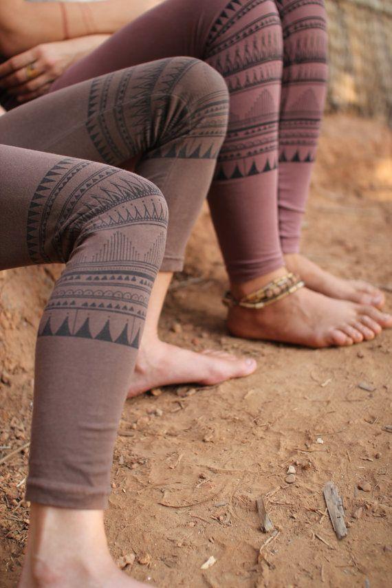 Organic cotton tribal  Leggings by PrimitiveTribalCraft on Etsy
