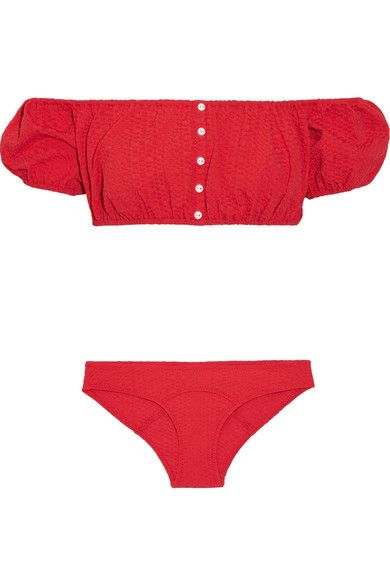 Lisa Marie Fernandez's 'Leandra' bikini is made from tactile seersucker in a vibrant tomato-red hue. This off-the-shoulder style has bubble sleeves and elasticated trims for a secure fit. Team yours with a straw hat.