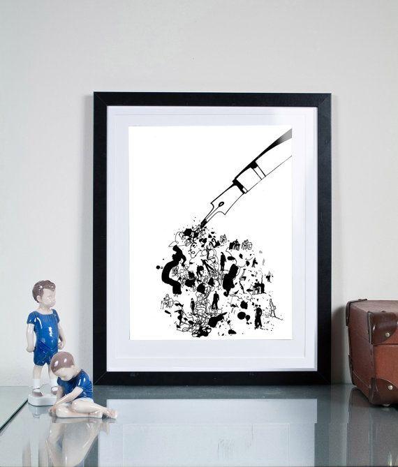 black ink ...Illustration art giclée print Signed by Tomek Wawer #black #pen #ink