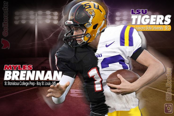 Want to show the world your new colors? Our Jersey Swap Edits allow you to honor both your current team and future program. This sample was put together to commemorate Myles Brennan   |   QB – St. Stanislaus College Prep – MS | commitment to LSU   |     Would you like to have your own custom sport edit? - send us an email (eliterostermedia@gmail.com) and order yours today!! | #Football #HighSchool #LSU #JerseySwap #Maxpreps #EliteRoster #Edits #College #Recruiting
