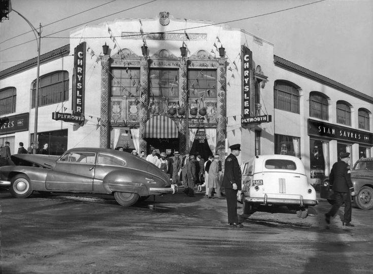 Accident at Stan Sayres' auto dealership, ca. 1955 Car