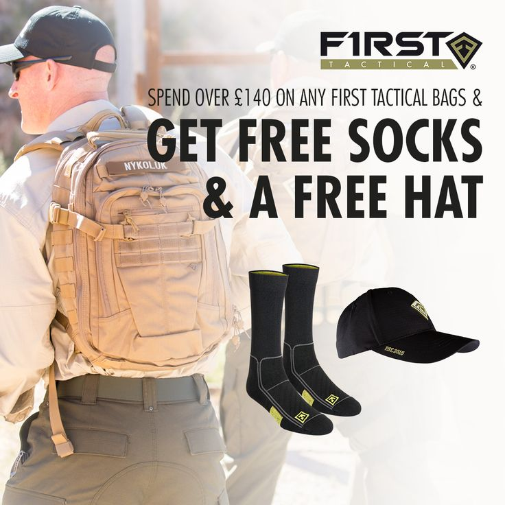 Spend over £140 on any First Tactical bags or backpacks and get a free pair of the Performance Socks and a limited edition baseball cap 😊 Go to our website now. Offer valid only while stocks last. For the UK and EU orders only.