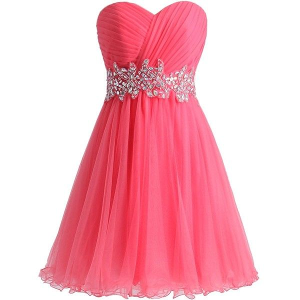 XFCastle Pleated Strapless Lace Up Water Melon Homecoming Dresses at... ❤ liked on Polyvore featuring dresses, laced up dress, homecoming dresses, strapless homecoming dresses, pink dress and laced dress