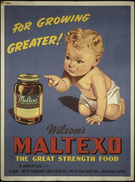 Maltexo for growing greater, 1935 New Zealand Railways. Publicity Branch, For growing greater! Wilson's Maltexo, ca 1935, Chromolithograph, 1015 x 755 mm, Printed Ephemera Collection, Alexander Turnbull Library, Reference: Eph-E-PHARMACY-1935-01 http://www.flickr.com/photos/nationallibrarynz_commons/6297441034/in/photostream