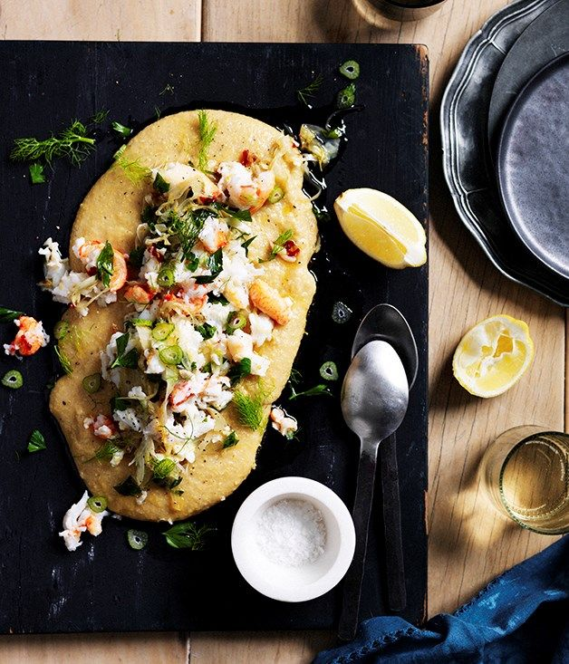 This soft polenta with crab, chilli, lemon and fennel makes a romantic ...