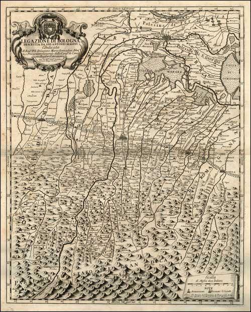 """DOMENICO DE ROSSI (1647 - 1720)  """"Legazione di Bologna""""  Dall'opera: Mercurio geografico, Roma, 1710"""