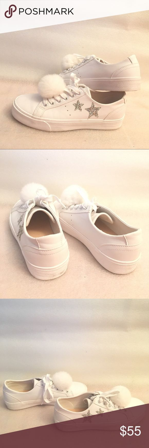 Pull and bear white stars fur ball sneakers Used gently maybe 2/3 times. The fur ball is removable. ASOS Shoes Sneakers