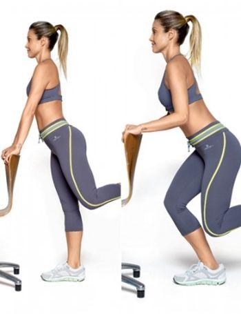 recuo - exercícios para o bumbum Pegue um apoio para segurar mas não coloque seu peso nele, é apenas para manter o equilíbrio. Mantenha uma perna estendida e outra bem flexionada para trás, se agache até meio caminho do chão e volte devagar.