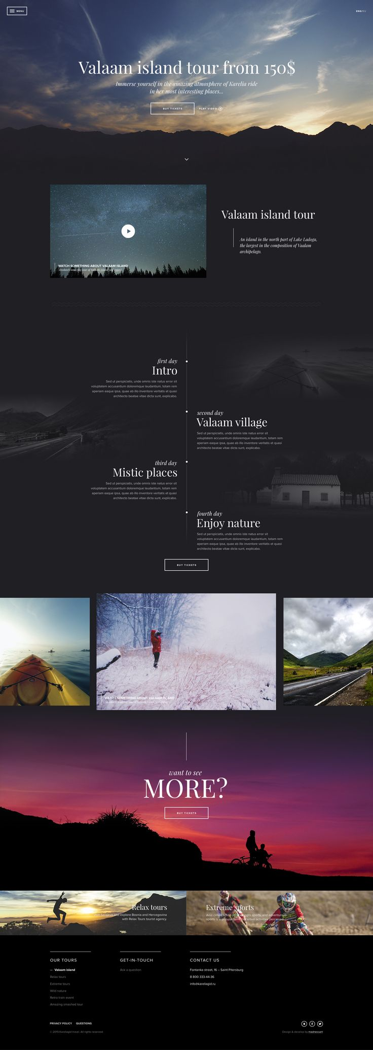 Landingpage template for tours of Karelia by Tema Streltsov #web #design #layout