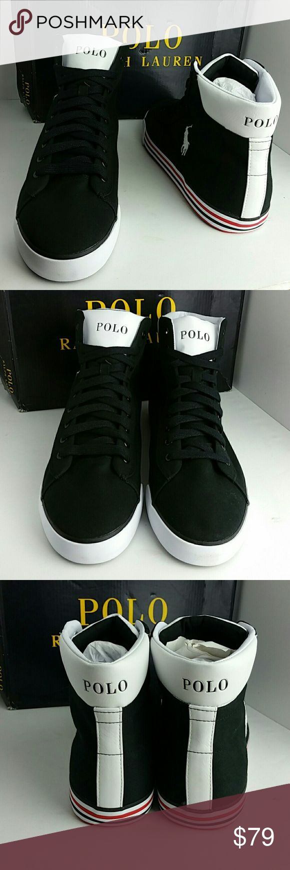 POLO RALPH LAUREN HARVEY MID SNEAKERS VERY CLEAN INSIDE-OUT WITH OG BOX   SKE # BX Polo by Ralph Lauren Shoes Sneakers