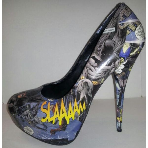 Decoupage Batman Heels ($70) ❤ liked on Polyvore