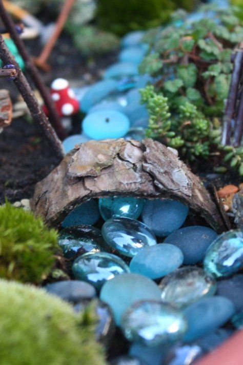 "Fairy garden ""river"" with pretty blue stones"