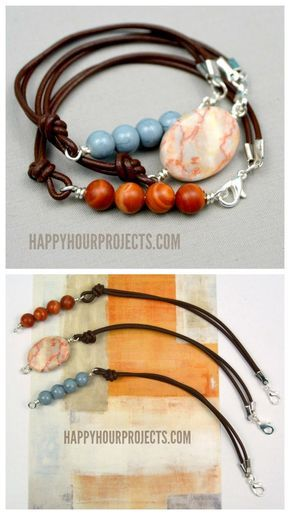 DIY Leather Bead Bracelet Tutorial from Happy Hour Projects.This bracelet is unique because the clasp is in the front. There is a good description of fold-over end caps that crimp the leather ends and make these ends easy to add jump rings to. For hundreds of the best DIY bracelets go here: truebluemeandyou.tumblr.com/tagged/bracelet