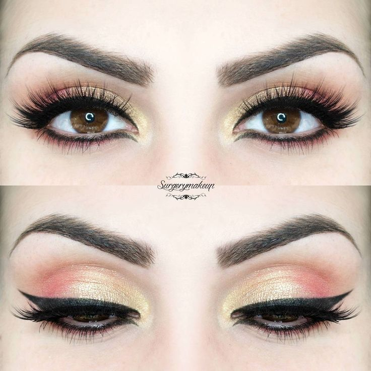 Perfect spring look with gold and peach eyeshadows and black eyeliner.