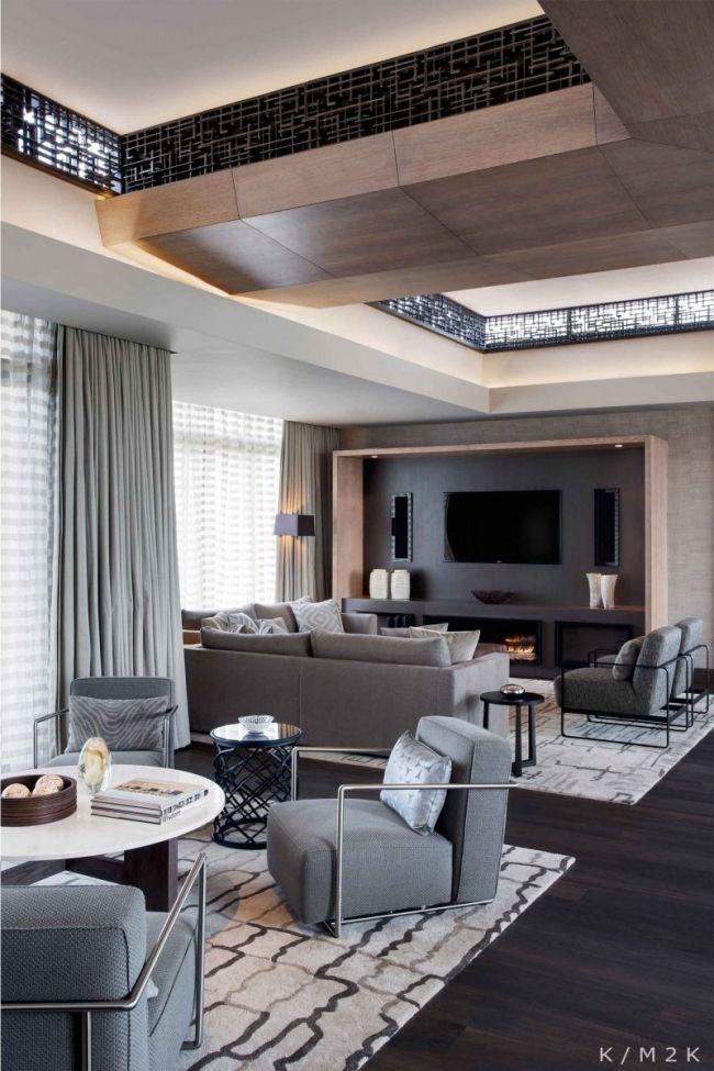 Moderne Penthouse Wohnung Kapstadt Graue Wohnzimmermöbel