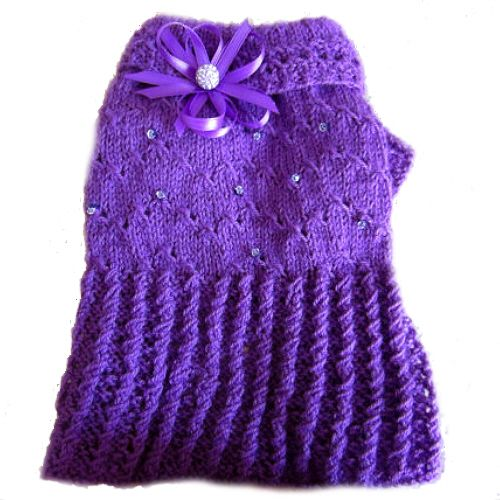 Swarovski Purple Hand Knitted Dog Sweater Dress