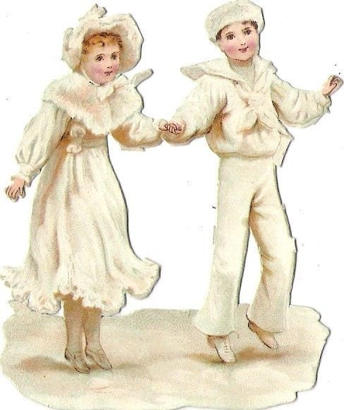 Oblaten Glanzbild scrap die cut chromo Winter Kind child  hiver  Schnee snow
