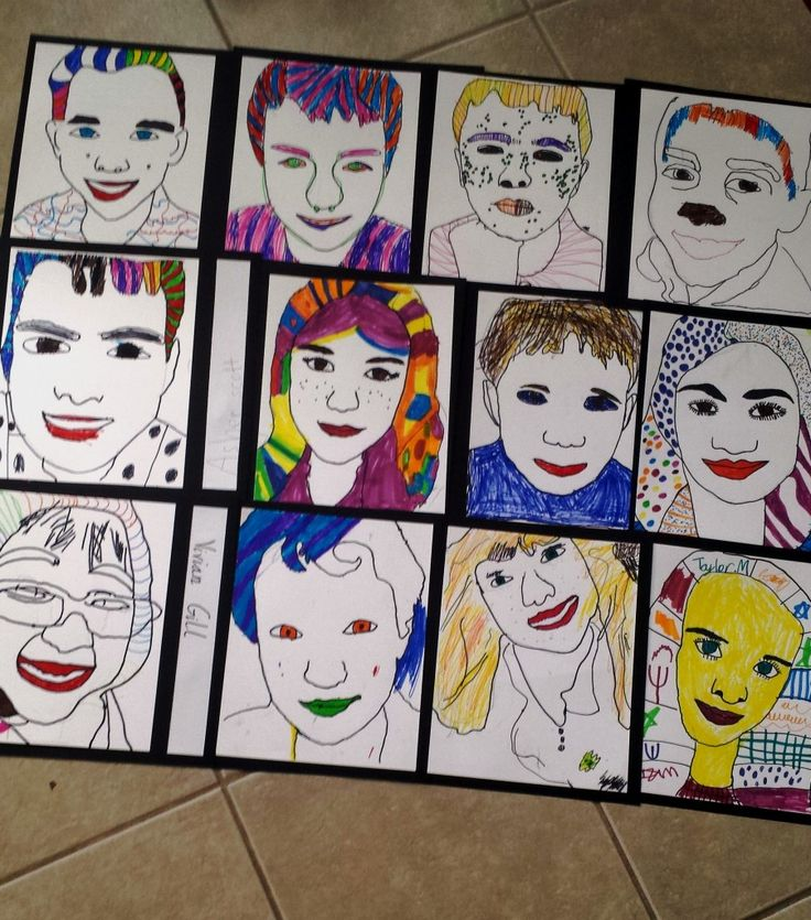 Easy self-portraits for kids! Graphite paper is the key to allowing younger students to obtain a good likeness of themselves