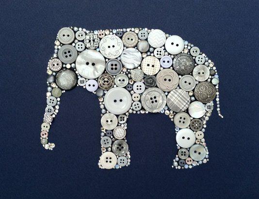 Elephant Button Art And Swarovski Art Elephant Silhouette
