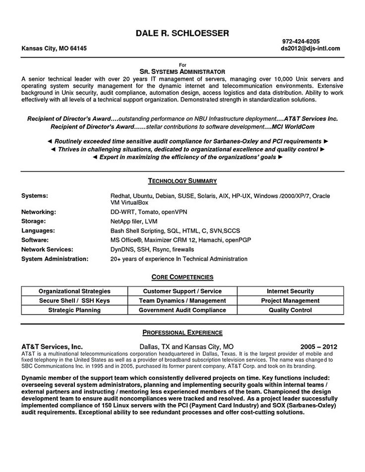 linux system administrator resume System administrator