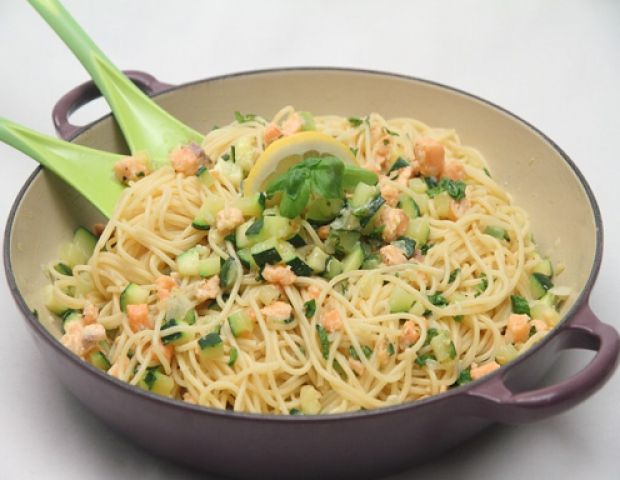 Lachs mit Spaghetti und Zucchini Rezept