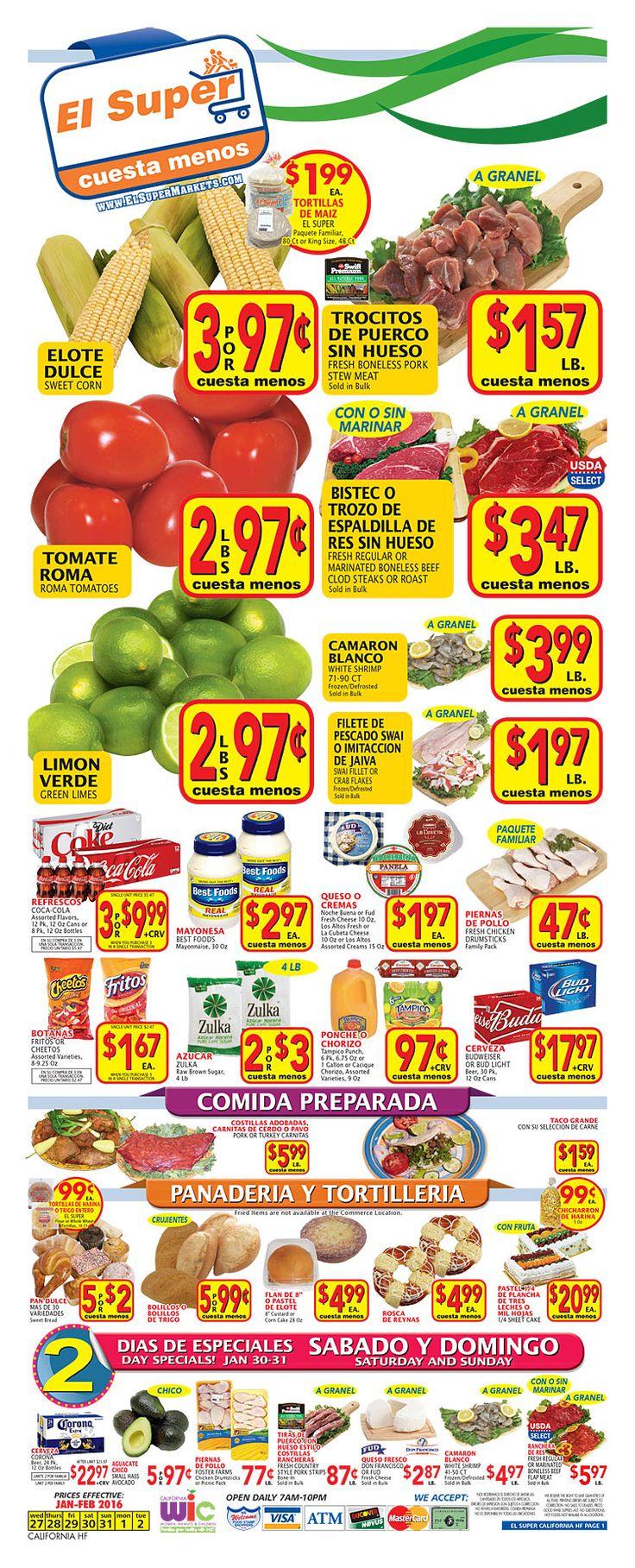 El Super Weekly Ad January 27 - February 2, 2016 - http://www.kaitalog.com/el-super-weekly-ad.html