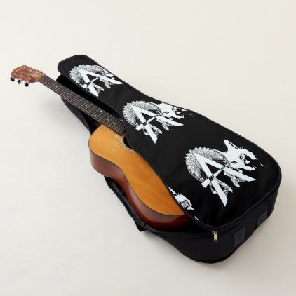 "A Monogram-Initial ""Indian-Dingbat Font"" B/W Guitar Case - monogram gifts unique design style monogrammed diy cyo customize"
