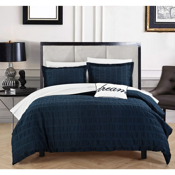 Chic Home Tornio 4 Piece 100% Cotton Navy Duvet Cover Set | Overstock.com Shopping - The Best Deals on Duvet Covers