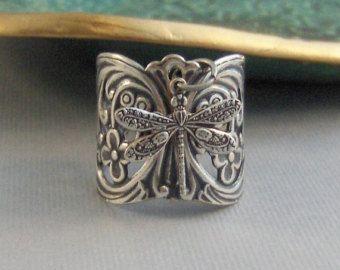 Libélula, anillo, libélula anillo de gitana, libélula en libélula hecha a mano, plata, libélula, anillo de Boho, gitano, joyería Dragonfly, valleygirldesigns.