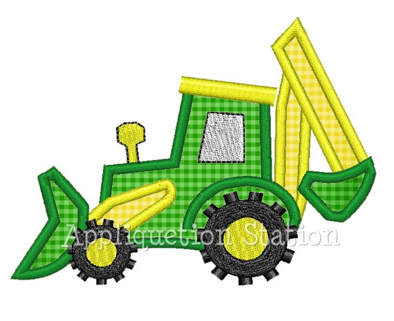 Tractor Bulldozer Backhoe Boy Applique by AppliquetionStation, $3.25
