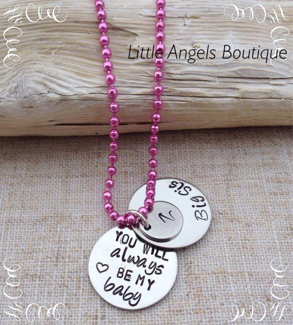 Big Sis Sister Initial Secret Message by littleangelsboutique