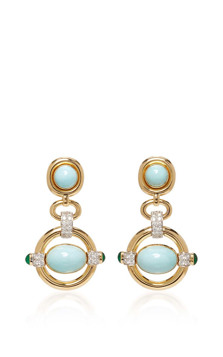 Cabochon Turquoise Earrings by DAVID WEBB for Preorder on Moda Operandi