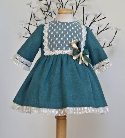 Vestido de paño verde ingles. Nueva colección ot-inv