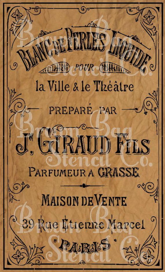"$65  34x20"" French Stencil - French Blanc de Prles Liquide - Lotion 34 x 20- mylar stencil - French Stencil"