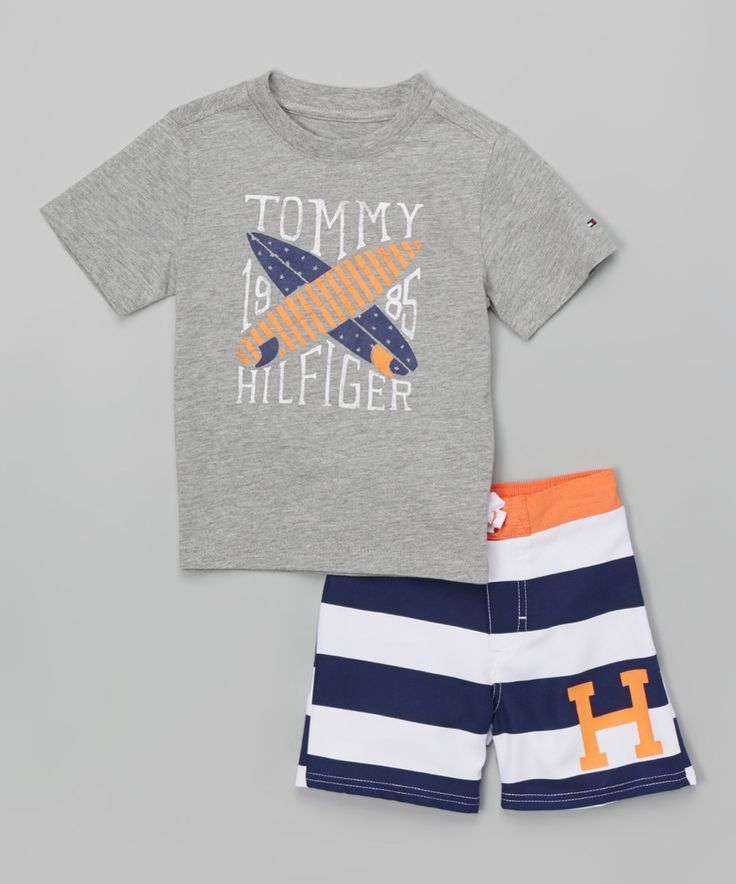 Love this Gray Surfboard Tee & Blue Swim Trunks - Infant, Toddler & Boys by Tommy Hilfiger on #zulily! #zulilyfinds