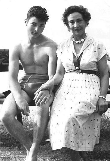 Mother and son at the beach, 1950s
