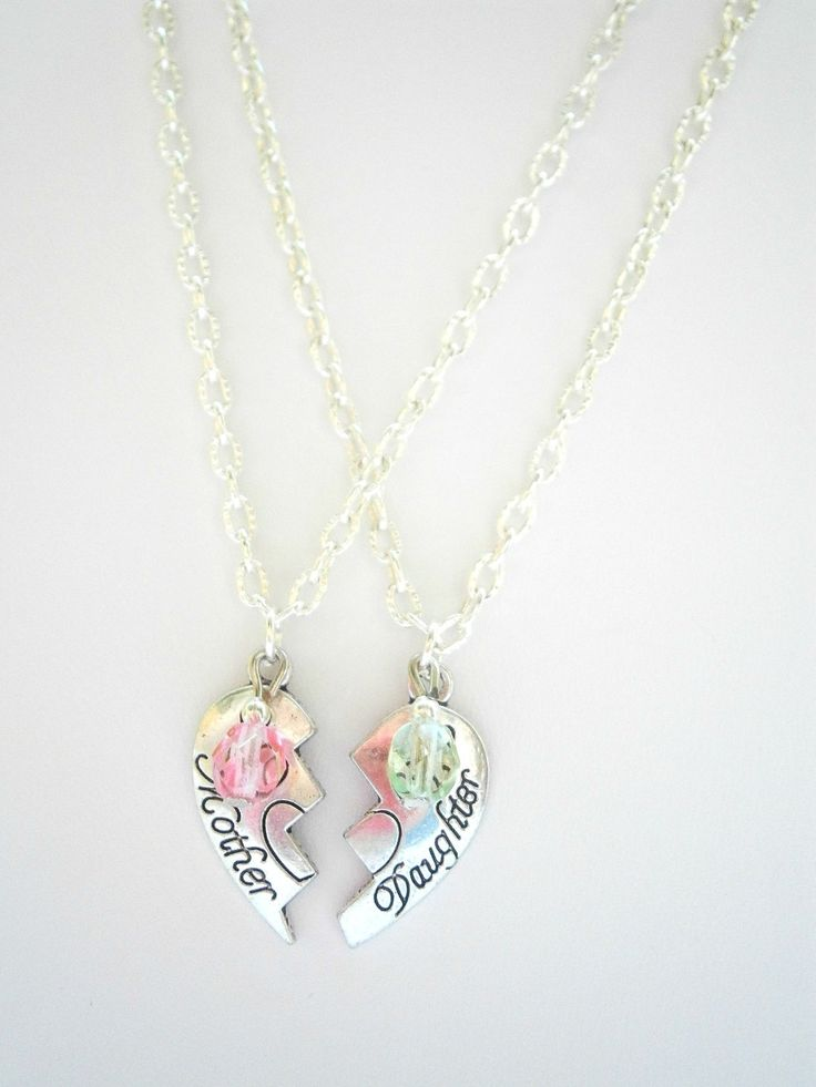 Mother Daughter Necklace Set - Mothers day Gifts - Mommy and Me Jewel - Personalized Jewelry - Half Heart Jewelry - Mom Jewellery by GlamorousSparkle on Etsy