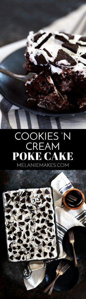 This Cookies 'n Cream Poke Cake is the perfect combination of two classic flavors in one delicious cake! A rich chocolate cake covered in a cookies 'n cream pudding mixture while still warm then layered with a quick chocolate ganache, whipped topping and crushed sandwich cookies.