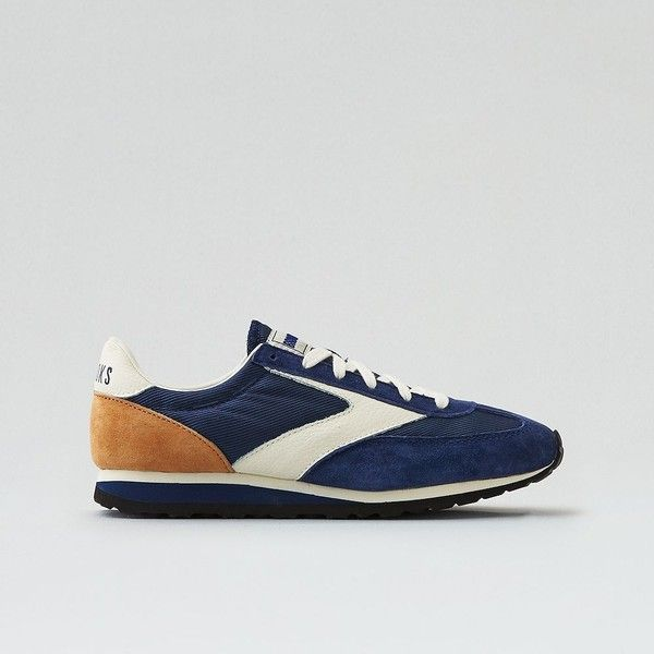 Brooks Vanguard Heritage Sneaker ($75) ❤ liked on Polyvore featuring shoes, sneakers, blue, laced shoes, chevron shoes, american eagle outfitters shoes, lace up sneakers and blue shoes