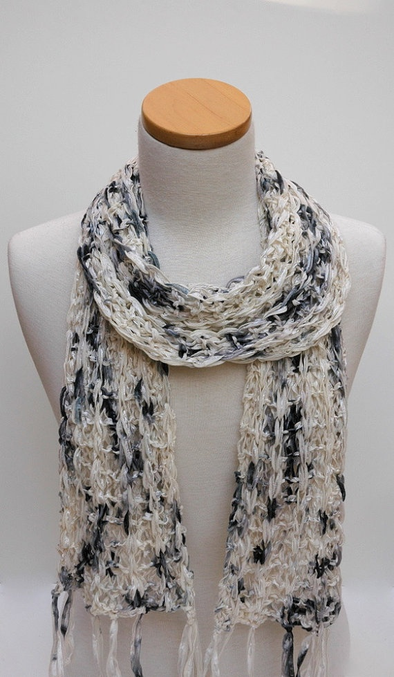 Cotton Scarf Hand Knit/ White Black Charcoal by Scarfs. Hey Aubrey do you like scrafs, not this one, but something similar?