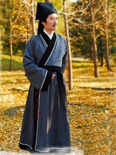 Men's Silk floss Gray Straight hem robe Shang Dynasty Hanfu Clothing