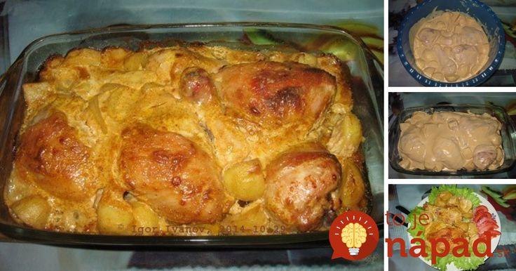 Všetko v jednej marináde: Chutné kurča so zemiakmi, v krémovej horčicovej omáčke.
