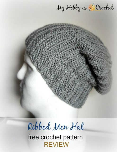 Ribbed Men Hat - Free Crochet Pattern REVIEW-ed on myhobbyiscrochet.com