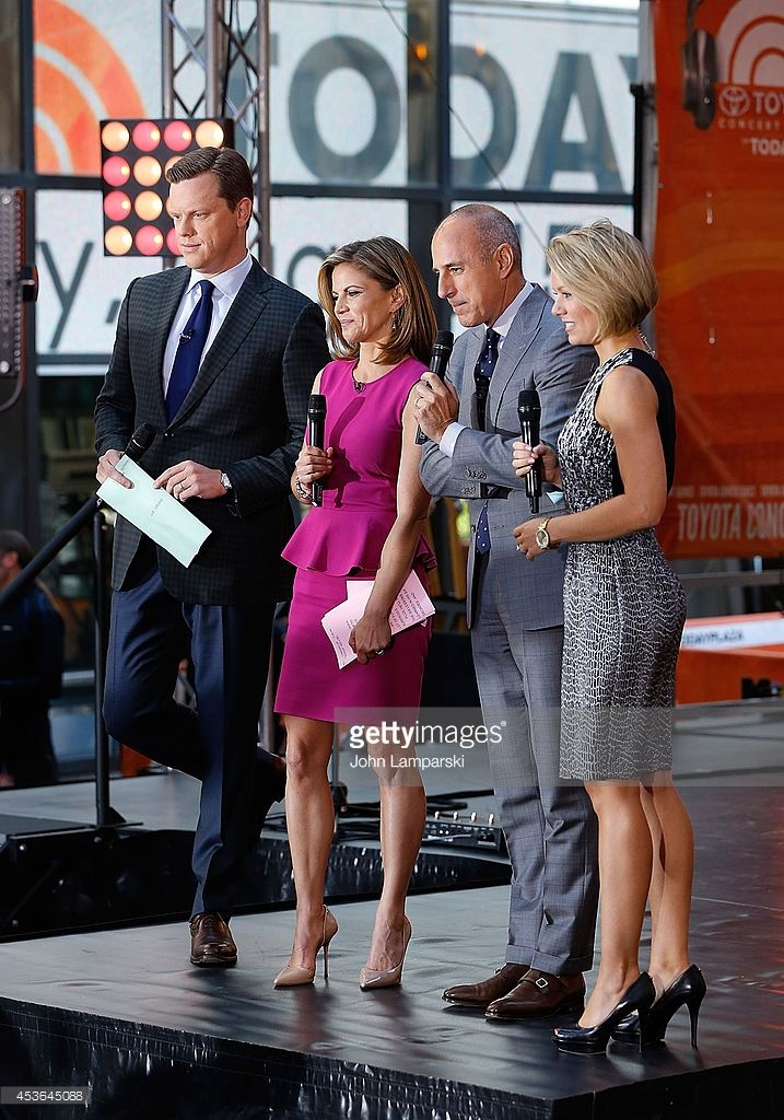 Willie Geist, Natalie Morales, Matt Lauer and Dylan Dreyer speak during the performance of Neon Trees on NBC's 'Today' at Rockefeller Plaza on August 15, 2014 in New York, New York.