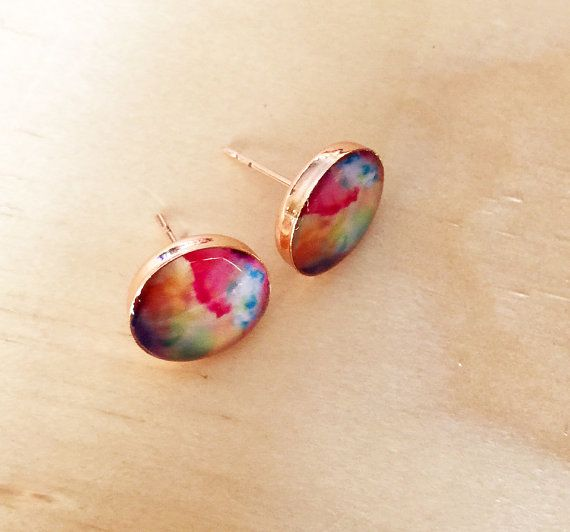 Watercolor Stud Copper Earrings by MyBlossomCouture on Etsy