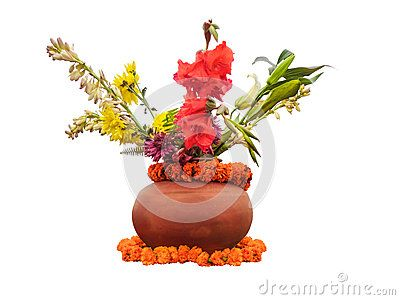 Flowers in a pot for welcoming and used in auspicious occasions used especially by Hindus.
