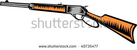 illustration of a vintage winchester rifle isolated on white background  #winchesterrifle #woodcut #illustration